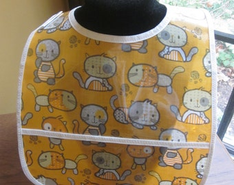 WATERPROOF WIPEABLE Baby to Toddler Plastic Coated Bib Cats and Kittens
