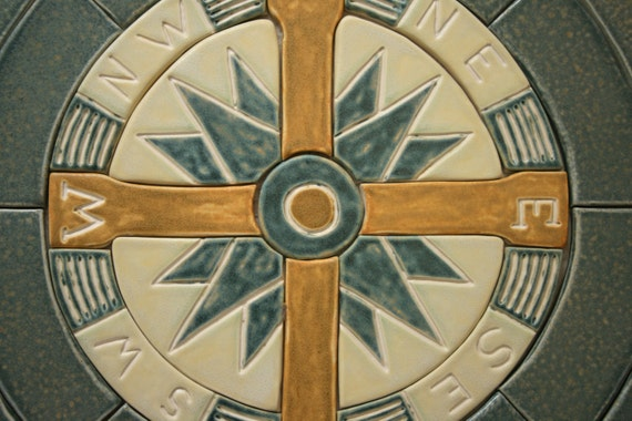 Compass Floor Tile : Compass rose mosaic nautical imagery on handmade ceramic