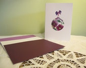 Kathie McCurdy Pressed Flowers & Botanical Art Purple Pansy Ornament Christmas Holiday Cards 5x7 - Package of 12