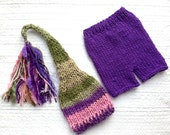 RTS Newborn to 3 month Baby Girl Outfit KNiT BaBY PHoTo PRoP Tassel SToCKiNG CaP PaNT SET Purple Pink Olive Green Stripe Beanie CoMiNG HoME
