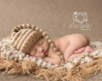 Newborn Baby Boy Hat Knit BaBY PHoTO PRoP Long Stocking Hat BeANiE Heather Brown Tan Stripe MuNCHKiN Girl Cap TaKE HoME Pixie Hat PiCK CoLOR
