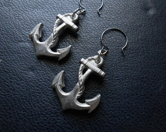 reduced - hope is an anchor to the souls of men -- vintage anchor charm earrings - handmade summer nautical jewelry