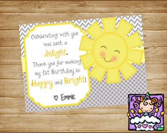 Personalized Yellow and Gray Printable Sunshine Thank you Card