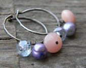rustic silver hoops with pink opal, pearl and czech glass - earrings - oxidized