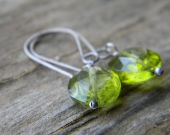 olive green quartz earrings - oxidized silver