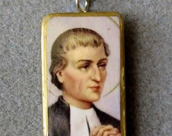 St. Louis de Montfort Catholic Art Recycled Domino Necklace L1