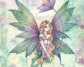 Mystic Garden - Flower Fairy Fine Art Giclee Print - Fantasy Illustration by Molly Harrison 9 x 12