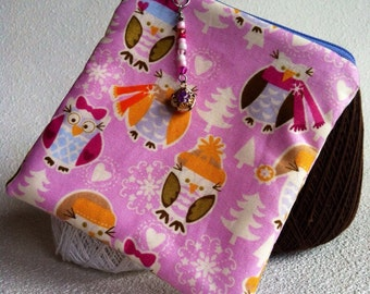 Little bundled owls square zipper pouch with beaded pull