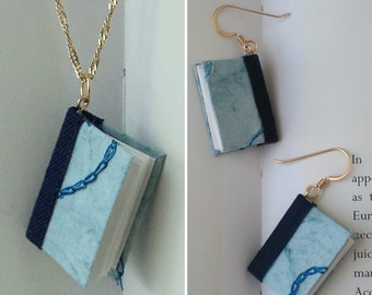Mini Book Jewelry Set, Blue Embroidery Book Earrings and Pendant- gold