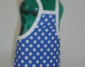 Retro White on Blue Polka Dots Dish Soap Bottle Apron Party Favor Staffer Small