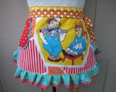 Aprons - Womens Raggedy Ann Apron - Monogrammed Aprons - Raggedy Ann and Andy Apron - Vintage Fabric Apron -  Annies Attic Aprons