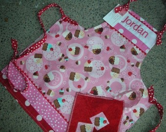 Girls Cupcake Aprons - Monogrammed Girls Aprons - Childrens Aprons - Cupcake Girl Apron - Pink Cupcake Apron - Annies Attic Aprons