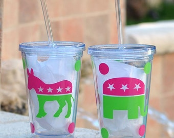 Personalized Political Party Tumbler | Democratic Donkey or Republican Elephant Tumblers ~ Personalized | Presidential Election Glasses
