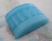 2 pcs. vintage glass turquoise blue art deco rectangular flat back cabochons 17x13mm - f4402