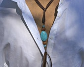 Boho chic -COWGIRL COUTURE- turquoise lariat  rustic with leather tassel -brown fringe