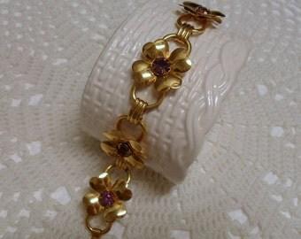 Vintage Coro Gold Dogwood Flower Purple Rhinestone Bracelet