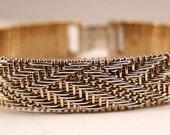 Basket Weave 14K Gold-filled Crossover Design Bracelet