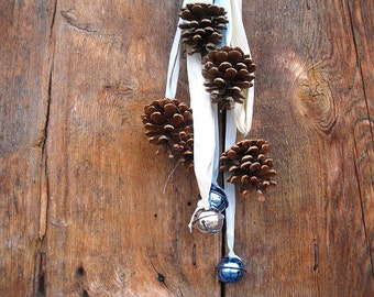 PINE CONE RIBBONS holiday decoration with three BELLs in blue