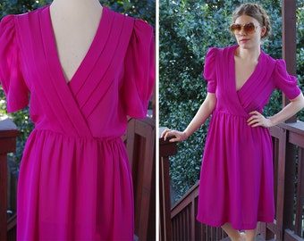 FUCHSIA 1970's 80's Vintage Bright Purple Sheer Secretary Dress with Plunging Neckline // size Small Med