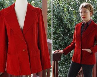 RUSTY 1960's 70's Vintage LEVIS Deep Blood Red Corduroy Blazer Jacket // by Levi Strauss & Co. // size Small Medium
