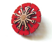 Bamboo Wood and Felt Brooch - Pin - Laser Cut - Mod - Orange