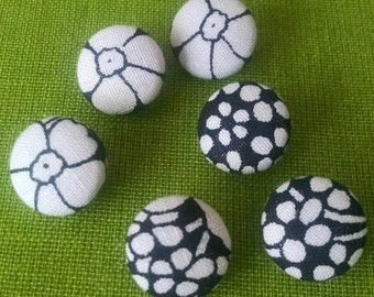Buttons Handmade Fabric Covered Black and White 6 24mm 7/8 inch Shank Style