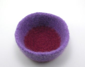 Felted wool bowl - wool felt bowl - lavender and burgundy