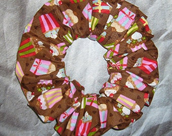 Hair Scrunchie, Holiday Fabric Hair Tie, Ponytail Holder , Cupcakes on Brown