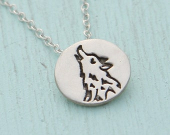 silver HOWLING WOLF necklace, illustration by BOYGIRLPARTY, eco-friendly silver.  Handcrafted by Chocolate and Steel.