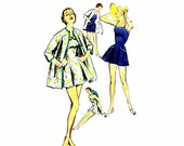 1950s Bathing Suit and Coat Simplicity 1607 Vintage Sewing Pattern Size 14 Bust 32 UNCUT