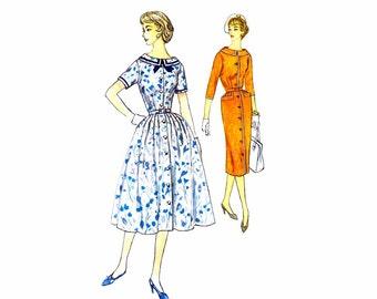 1950s  Sheath Dress Simplicity 2423 Vintage Sewing Pattern Womens Full Skirt Dress Half Size 18 1/2 Bust 39 UNCUT