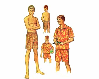 1960s Boys Shirt and Swim Shorts Simplicity 6562 Vintage Sewing Pattern Size 8 Chest 26