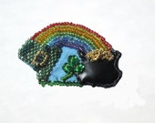 St Patricks Day Brooch with Rainbow and Pot of Gold PIN8