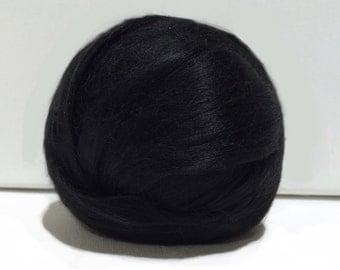 Black Bamboo roving, Needle Felting Spinning Fiber, midnight, deep black, true black