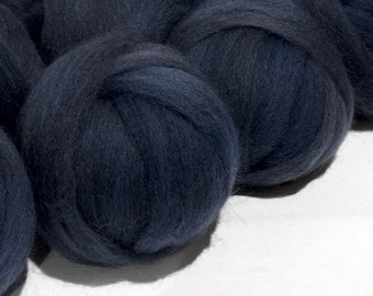 Slate Blue wool roving, Needle Felting, Spinning Fiber, slate blue, blue grey, dusk blue roving, Saori weaving