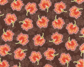 "27"" piece/remnant - SALE - Somerset - Geraniums in Chestnut Brown: sku 20238-16 cotton quilting fabric by Fig Tree for Moda Fabrics"