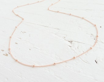 Rose Gold Satellite Chain 14K Gold Filled Beaded Chain Rosegold Necklace Rose Goldfilled Chains Delicate Chain with Beads