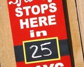 Christmas Countdown Santa Stops Here Chalkboard Home Decor Wall Hanging Sign