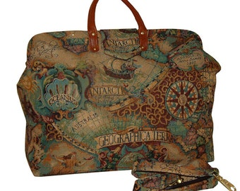 Old World Map Tapestry Carpet Bag