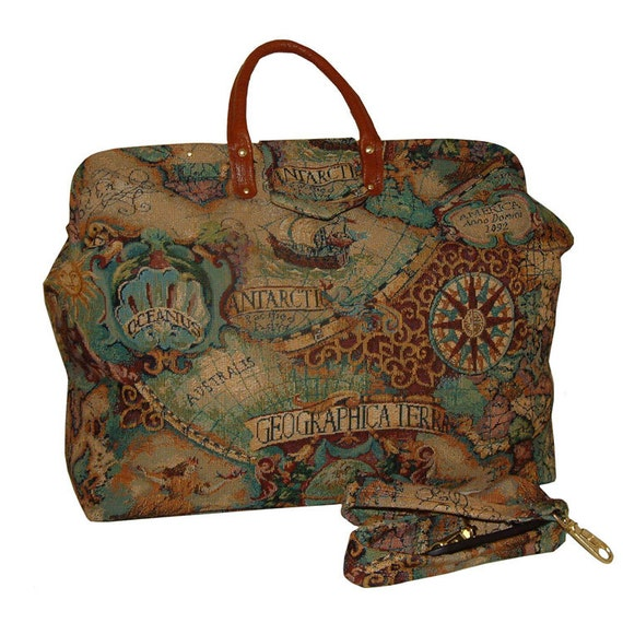 Old World Map Tapestry Carpet Bag By Flyingneedle On Etsy