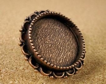 Ornate Medium Screw Back Circle Bezel Frame Copper Finish