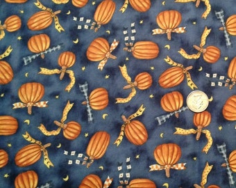 Pumpkin Hollow by Diane Knott for Clothworks - Night blue with pumpkins - 1 yard by 42 inches wide - NEW