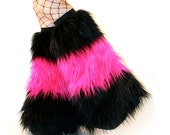 Cyber Fluffies Rave Furry Boot Covers Black Hot Pink GoGo Fluffies Leg Warmers