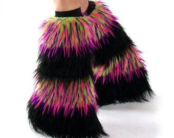 Furry Leg Warmers Black / Monster Fur clothes Rave Fluffies Boot Covers