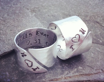 Couples Rings / Secret Message Jewelry / Set of TWO Cuff Rings // Personalized Gift Under 100
