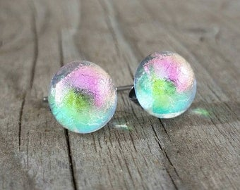 Pink and Green Stud Post Earrings in Dichroic Glass