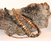Triple Strand Fall Colors Pearl Necklace