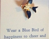 Blue Bird of Happiness goldtone clutch pin Vintage