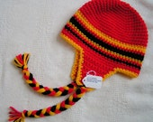 Baby Earflap Hat Size  3 to 6 months Hand Crochet in Red, Yellow and Black  Ready to Ship