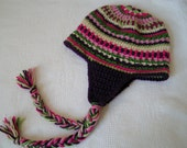 Crochet Earflap Hat Teen Pink, Purple, Tan and Green Ready to Ship